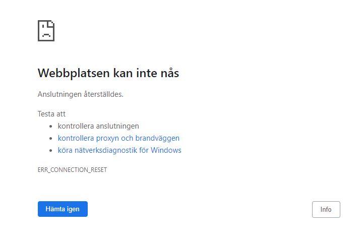 webbplatsen kan inte nås