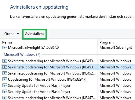 ta bort windows uppdatering